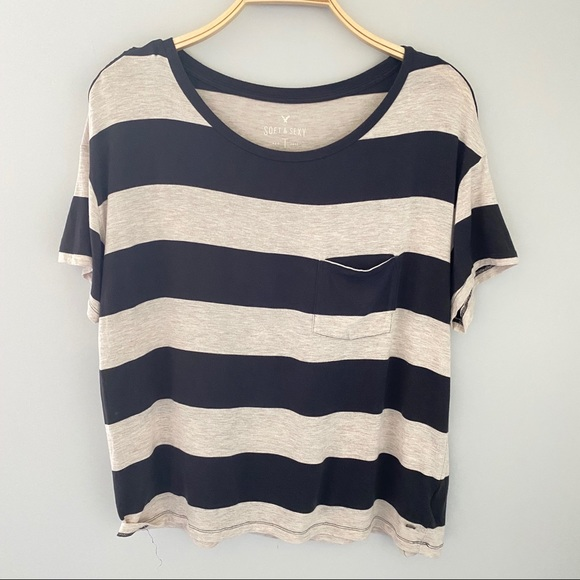 American Eagle Soft & Sexy Striped Tees - Size M